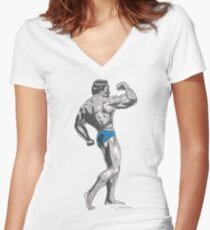 Mr Universe Women's Fitted V-Neck T-Shirt