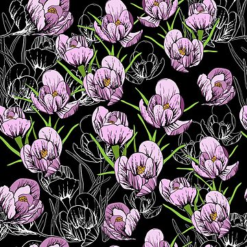 seamless pattern First Snowdrops Galanthus Flowers by mnimpres