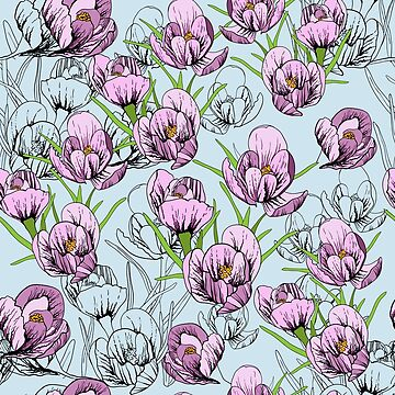 seamless pattern First Snowdrops Galanthus Flowers.  by mnimpres