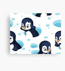 Funny cartoon penguins Canvas Print