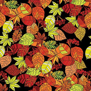 autumn leaves seamless pattern on black background by mnimpres