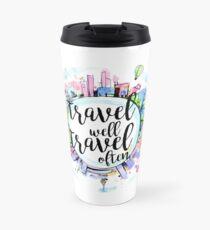 Taza de viaje Viaja bien, viaja a menudo