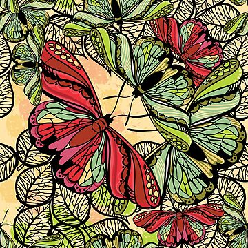 seamless drawing pattern butterflies and flowers. Floral pattern  by mnimpres