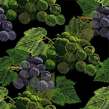 pattern embroidery, needlework with a bunch, cluster of grapes by mnimpres