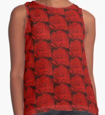 Red Rose Repeat Pattern Contrast Tank