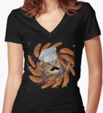 Chef Cat Women's Fitted V-Neck T-Shirt