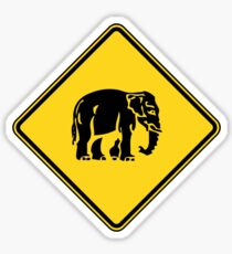 Caution Elephants Crossing ⚠ Thai Road Sign ⚠ Sticker