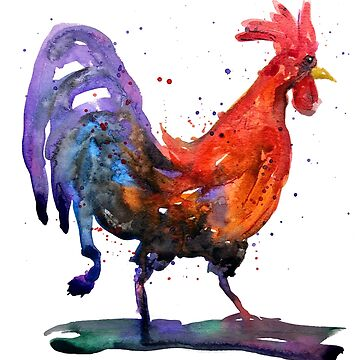 Watercolor Rooster with purple tail by tallbridgeguy