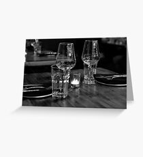 Dinner for 2 in B&W Greeting Card