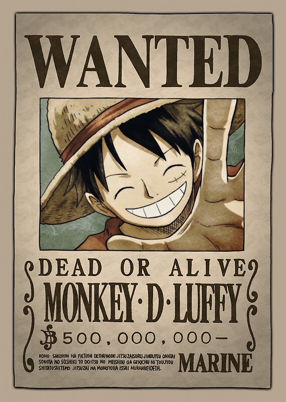 one piece luffy new wanted poster. Black Bedroom Furniture Sets. Home Design Ideas