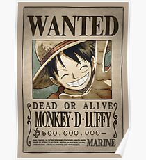 One Piece Wanted Poster: Luffy Poster
