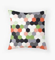 Hex - Flame Orange/Greenery Green Throw Pillow