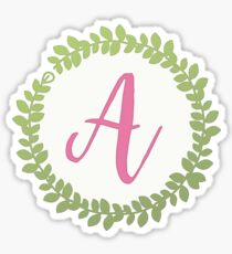 Floral Wreath Initial Letter A Sticker