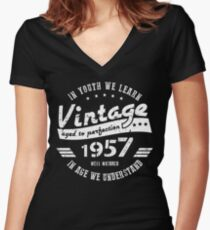 60th Birthday Youth Women's Fitted V-Neck T-Shirt