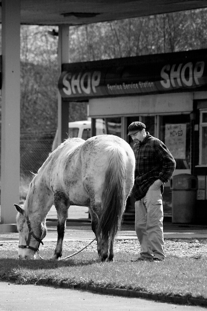 MAN AND HIS HORSE AT THE PETROLL STATION by castingnets