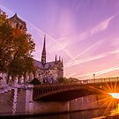 Sun Rise over Paris Notre Dame by ferryvn