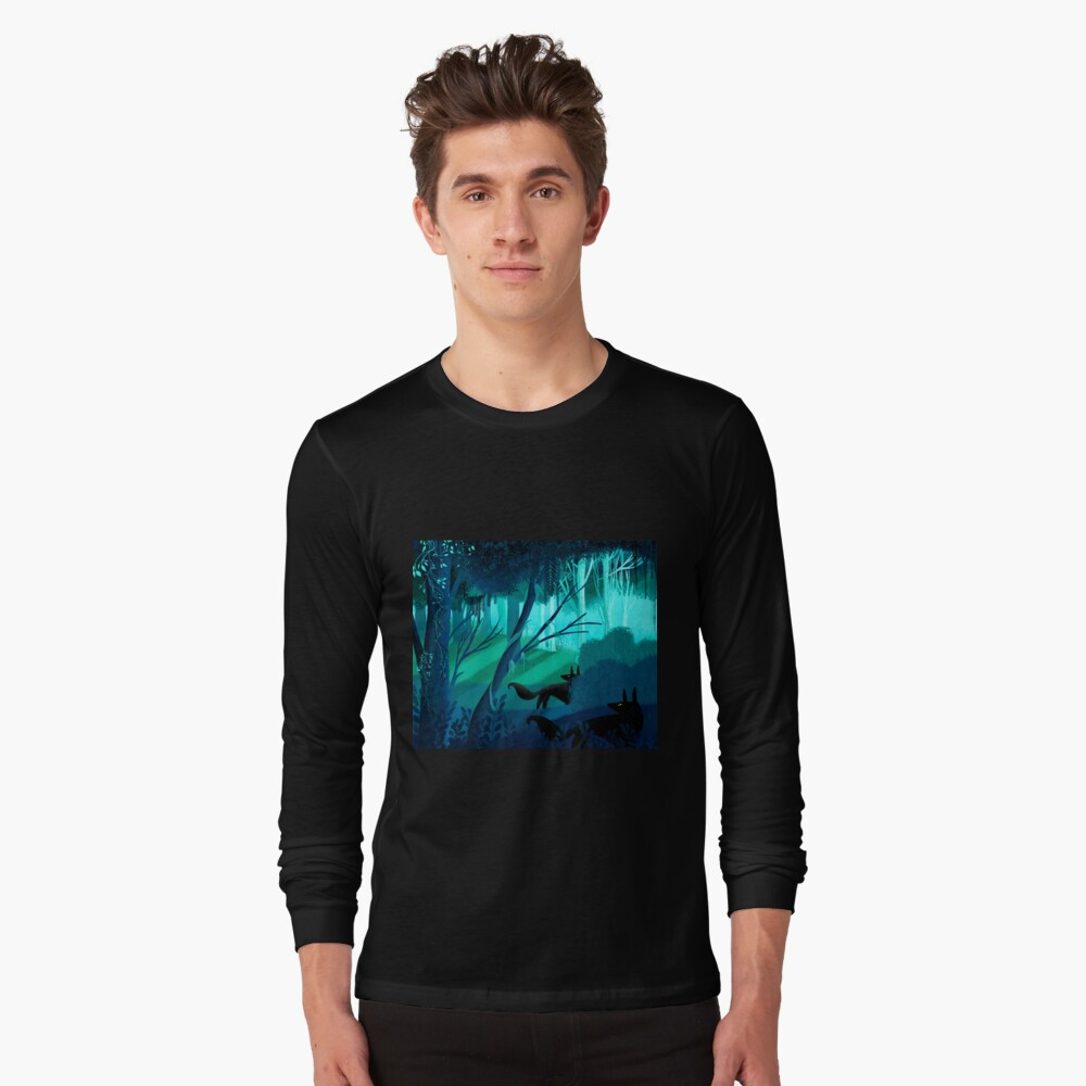 Shadow Wolves Stalk The Silver Wood Long Sleeve T-Shirt