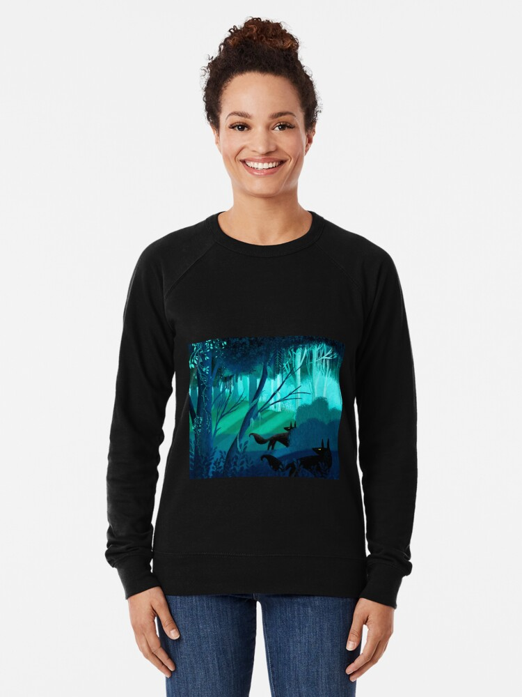 Alternate view of Shadow Wolves Stalk The Silver Wood Lightweight Sweatshirt