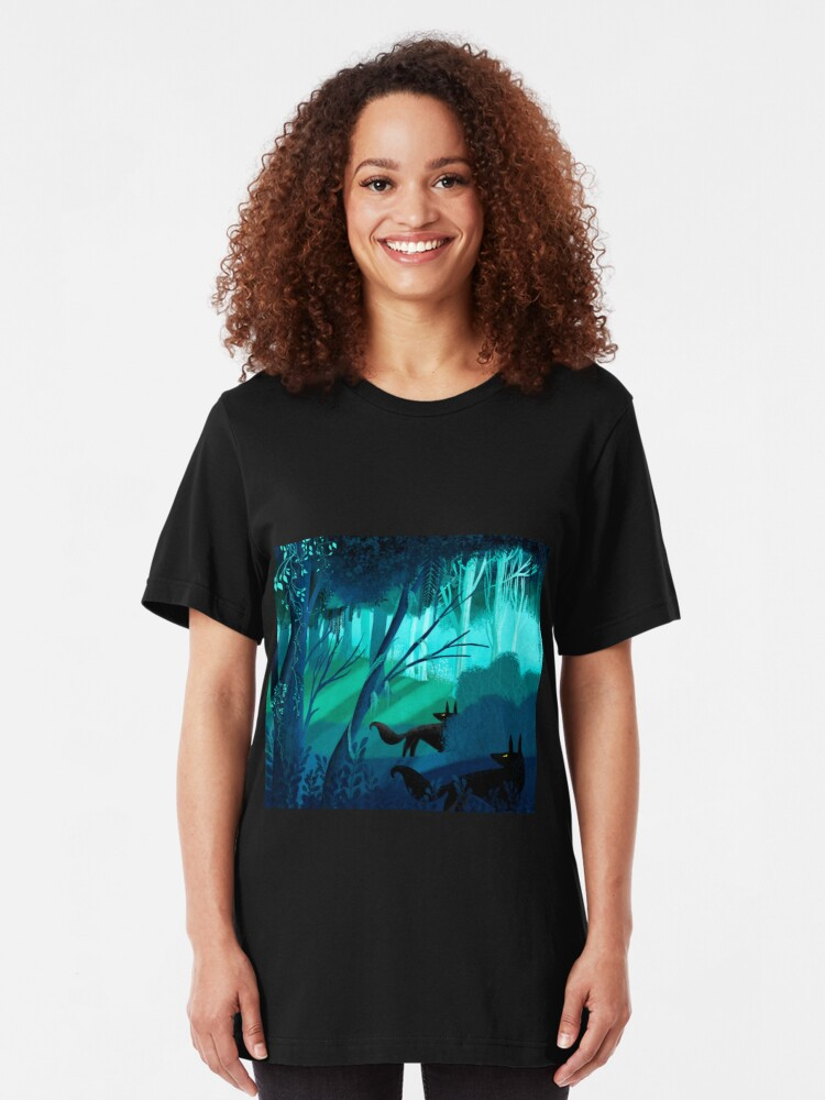Alternate view of Shadow Wolves Stalk The Silver Wood Slim Fit T-Shirt