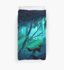 Shadow Wolves Stalk The Silver Wood Duvet Cover