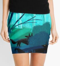 Shadow Wolves Stalk The Silver Wood Mini Skirt