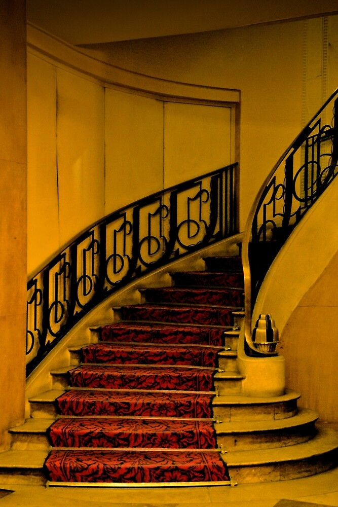 DECO STAIRCASE IN HOTEL PARIS (CARD ONLY) by Thomas Barker-Detwiler