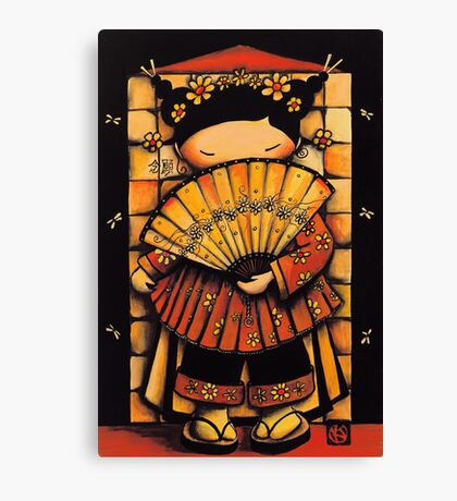 Chinese Red Fan Girl Canvas Print