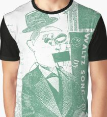 Vintage Green Funny Face Collage Art Graphic T-Shirt
