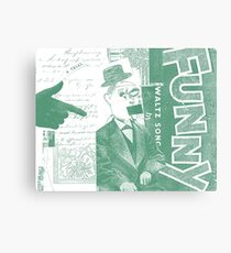 Vintage Green Funny Face Collage Art Canvas Print