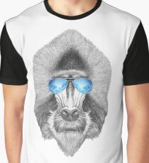 Cool Baboon In Sunglasses Graphic T-Shirt