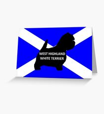 west highland white terrier name silhouette on flag Greeting Card