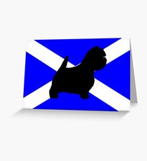 west highland white terrier silhouette on flag Greeting Card
