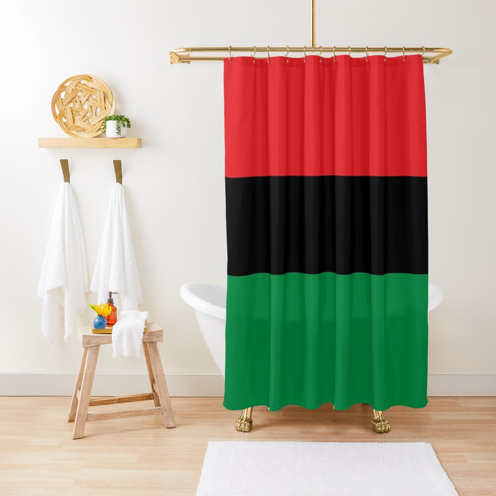 Pan African Flag T-Shirt - UNIA Flag Sticker - Afro American Flag Shower Curtain