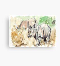 Two White Rhinos Canvas Print