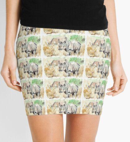 Two White Rhinos Mini Skirt