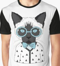 Hipster Cat Blue Glasses Graphic T-Shirt