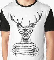 Hipster Deer Graphic T-Shirt