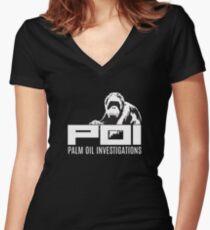 POI - Palm oil investigations logo white Women's Fitted V-Neck T-Shirt