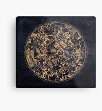 Vintage Konstellationen und Sternzeichen Vergilbte Tinte und kosmische Farbe Metallbild