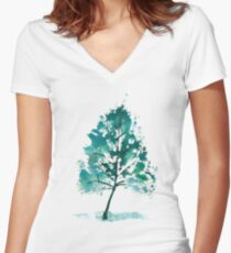 Leaf Print Tree - 03D (with transparency) Women's Fitted V-Neck T-Shirt