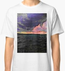 Pink Sky with Lavender Clouds and the Dark Sea Classic T-Shirt