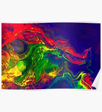 Cool Colorful Dragon Face Abstract Gifts Design From Paintings Poster