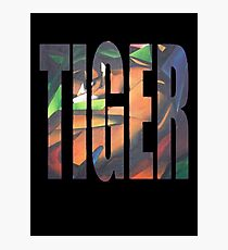 Large Tiger Text With Tiger Camouflaged Photographic Print