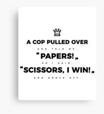 Rock Paper Scissors Cop Funny Design Canvas Print