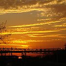 Sunset At The Locks by Wanda Raines