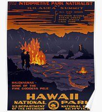 Hawaii, national park, volcano eruption, fire, vintage, travel poster Poster