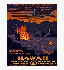 Hawaii, national park, volcano eruption, fire, vintage, travel poster Photographic Print