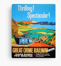 Great Orme tramway, railway, Great Britain, sightseeing, vintage travel poster Canvas Print