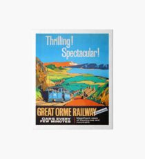 Great Orme tramway, railway, Great Britain, sightseeing, vintage travel poster Art Board