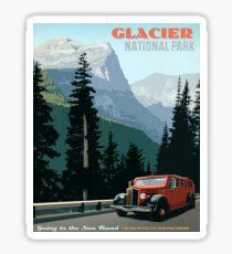 Glacier, National Park, old car, tour, vintage travel poster Sticker